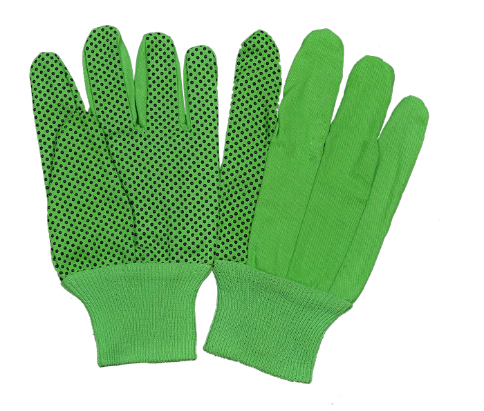 ​Drill Green/Black PVC Dots Gloves With Green Knit