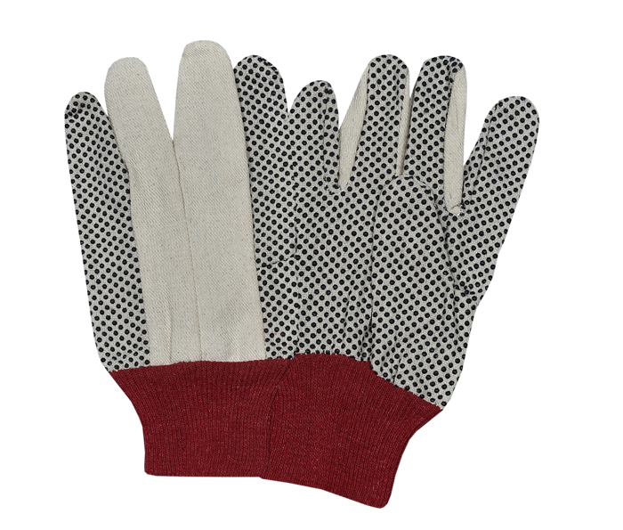 ​Drill Dotted Gloves with Red Knitted Wrist